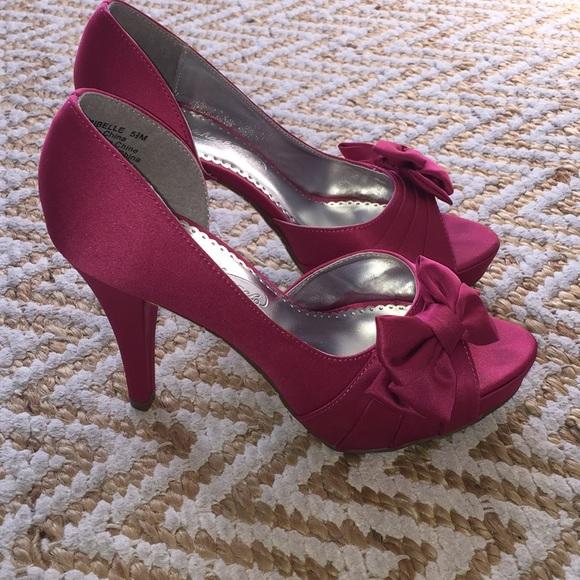 caa3578c8116 David s Bridal Shoes - Satin Peep Toe Pumps in Watermelon Pink